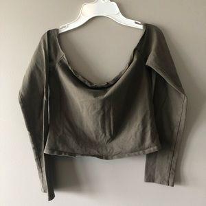 Garage olive cropped long sleeve shirt